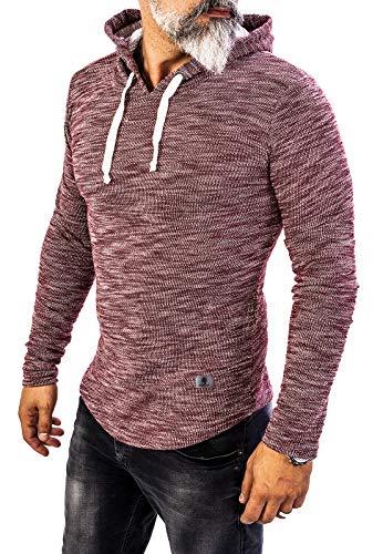 Rock Creek Herren Longsleeve Shirt Langarm Hoodie Sweatshirt Kapuzenpullover Langarmshirt Herrenpulli Street Style H-143 Weinrot M