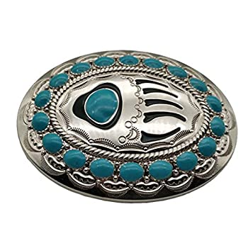 Native American Turquoise Bear Claw Belt Buckle