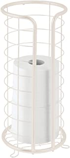 mDesign Decorative Metal Free Standing Toilet Paper Holder Stand with Storage for 3 Rolls of Toilet Tissue - for Bathroom/Powder Room - Holds Mega Rolls - Cream/Beige