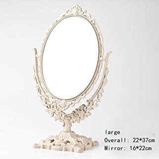 WUDHAO Vanity Mirror,Makeup Mirror 3X Zoom European Style Portable Mirror Dressing Table Mirror Swivel Vanity Mirror, Vintage Retro Double Sided Dressing Mirror for Dresser with Lights Wall Mounted