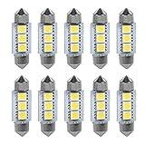 Bombillas LED KIMISS 10PCS 36MM, 12V 3 SMD 5050 LED Festoon Dome Bombillas de luz para automóvil Lámpara interior (blanco)