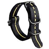 Cinturino per Orologio in Nylon G10 Zulu Cinturini Militare Premium Balistico Spesso Multicolori per Uomo Donna 18mm 20mm 22mm 24mm con Fibbia in Acciaio Inossidabile Argento/Nero