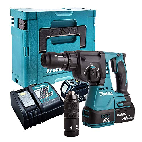 Makita DHR243Z 18V Brushless SDS+ Hammer Drill with 2 x 5.0Ah Batteries, Charger & Case