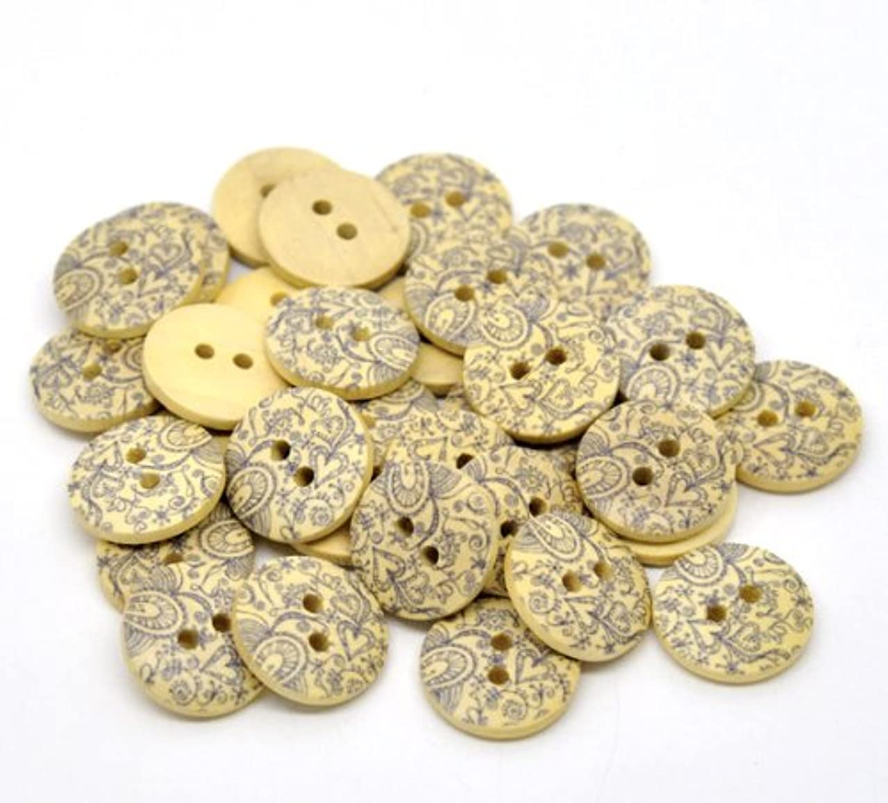 PEPPERLONELY Brand 100PC Hearts 2 Hole Round Wood Buttons Scrapbooking Sewing Buttons 18mm (3/4 Inch)