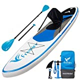 "Freein All Round Stand Up Paddle Board Inflatable SUP 10' Long 31"" Wide 6"" Thick Blue with Kayak Conversion Kit,Package∣Kayak seat,Adj 2 in 1 Paddle,Backpack,Leash,Pump"