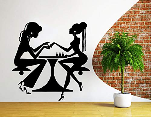Muurstickers Schoonheid Salon Nagel Art Manicure Vinyl Decal interieur Decor Sticker Kapper Kapsel Vrouw Kapper Apparaten NS1044 Eenvoudig aan te brengen en verwijderbaar