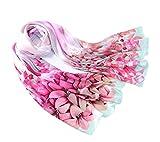 prettystern 180cm Langer Damen Schal Lilien Handrolliert 100% Seide Tuch Pastelltöne   Lilien Pink