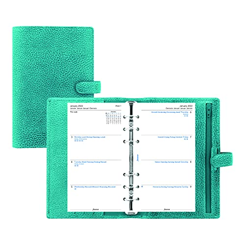 Filofax Finsbury Organizer, Personal Size, Aqua – Traditional Grained Leather, Six Rings, Week-to-View Calendar Diary, Multilingual, 2022 (C025444-22)