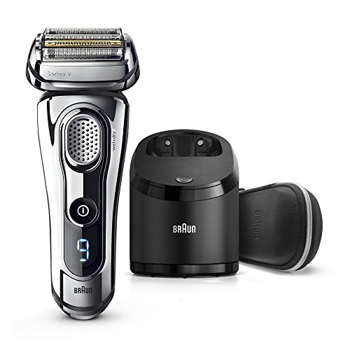 Electric Razor for Men By Braun, Series 9 9296CC Electric Shaver With Precision Trimmer, Rechargeable, Wet & Dry Foil Shaver, Clean & Charge Station & Leather Travel Case