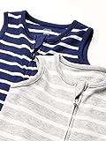 Amazon Essentials Infant Boys Cotton Sleep Sacks, 2-Pack Grey/Navy Stripes, 6 Months
