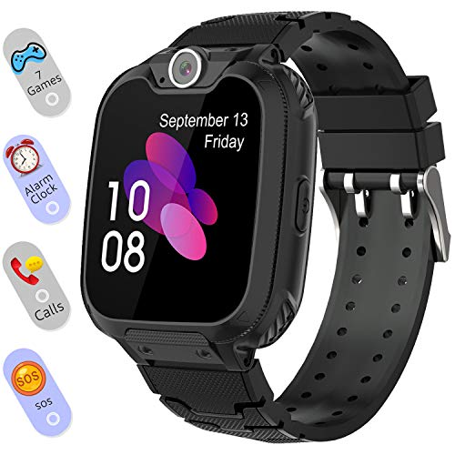 Smart Watch for Kids Boys Girls - Touch Screen Game Smartwatch with Call SOS Camera 7 Games Alarm Clock Music Player Record for Children Birthday Gifts 4-10 Kids Phone Watch with 1GB SD Card (Black)