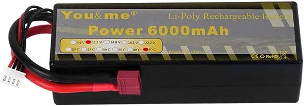 Youme 3S RC Lipo Battery 6000mah 11.1V 50C Max 100C Hard Case Deans T Plug RC Traxxas ,RC Car, Truck, Buggy, Boat, Heli Drone(5.43x1.81x1.54inch 0.94lb