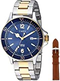 Timex Men's TWG019600 Harborside Two-Tone/Blue Stainless Steel Bracelet Watch Gift Set + Tan Genuine Leather Strap