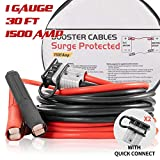 Booster Jumper Cables Heavy Duty 1 Gauge 1500 AMP 30 FT with Quick Connect Plugs Travel Bag for Truck SUV Car
