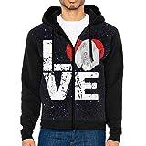 JUN7MING HAT Men's Sleeve Hoodie Bloodhound Dog Lovers Zip Up Sportswear Jackets Black