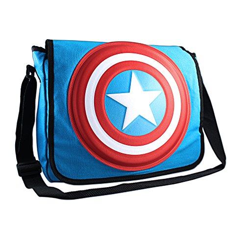 marvel avengers messenger bags Silver Buffalo MC4701MB3 Marvel Captain America Shield 3D Messenger Bag