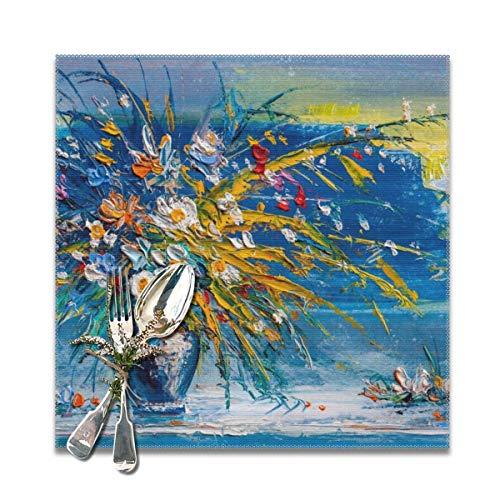 Houity Olieverfschilderij Madeliefjes Bloemen In Een Vaas Wasbaar Zacht Voor Keuken Diner Tafelmat Plaats Mat, Makkelijk Te Reinig Handige Opvouwbare Opslag Placemat 12x12 Inch Set Van 6