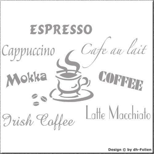 wall-refine WS-00800 | Kaffee 01 | Premium Wandtattoo Wandaufkleber der Extra-Klasse, 55 x 45 cm, Silber oder 33 weiteren Farben und 3 Grössen erhältlich, seidenmatter Glanz