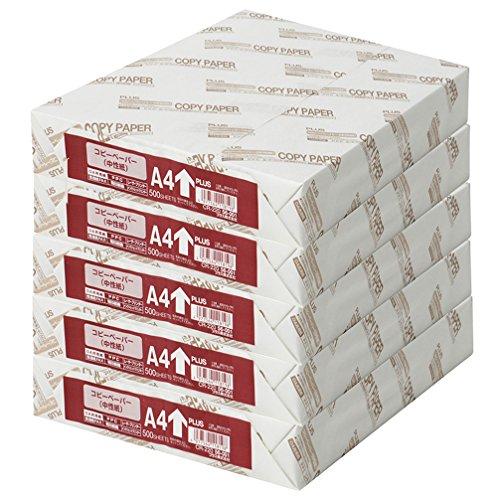 プラス コピー用紙 A4 白色度82% 紙厚0.09mm 2500枚 (500×5) 56001×5