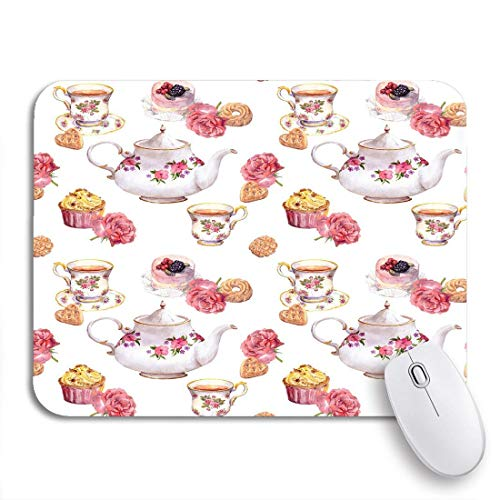 Gaming mouse pad teatime teekanne teetasse kuchen und blumen muster wasser rutschfeste gummi backing computer mousepad für notebooks maus matten