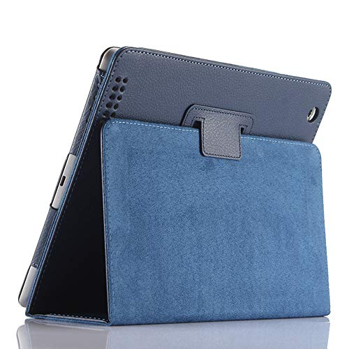iPad 2 3 4 Case,FANSONG Bi-fold Series Litchi Stria Ultra Thin Magnetic PU Leather Smart Protective Cover Case [Flip Stand,Sleep Function] for Apple iPad 2/3/4 (Navy)