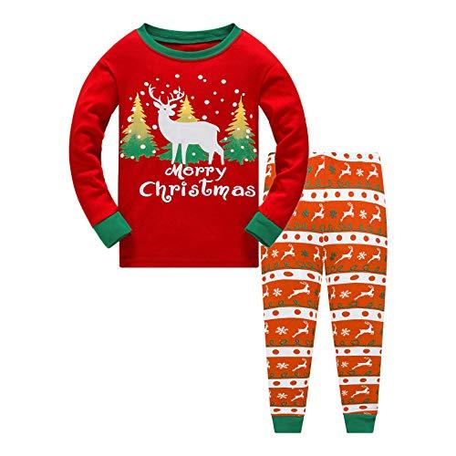 Weihnachten Kinder Schlafanzug Jungen Pyjama Langarm Baumwolle Mädchen Zweiteilig...