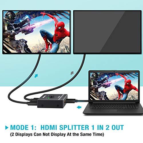 Techole Commutateur HDMI, Switch HDMI Répartiteur Bidirectionnel 2 Entrées 1 Sortie ou 1 Entrée 2 Sorties, 3D 1080P 4 K, HDCP Passthrough-HDMI Switcher pour HDTV/Lecteur Blu-Ray/DVD/DVR/Xbox etc Noir