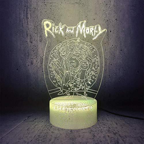 Boutiquespace Lámpara de ilusión 3D Led Luz de Noche Rick and Morty Caminando Comedia Divertido Papel de Dibujos Animados Interesantes Novia Regalos Decoración del Hogar