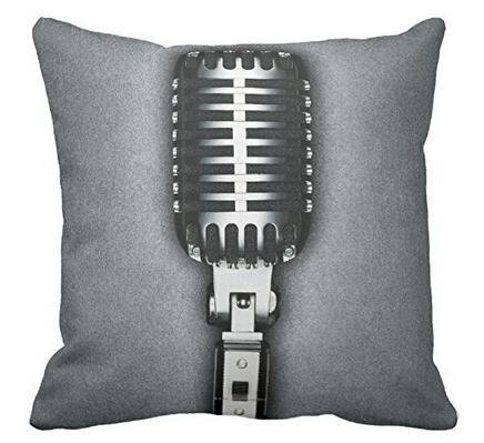 Alyssa Stuart Music Classic Microphone Stylish Style Pillow Case Cushion Cover Home Sofa Decorative 18 X 18 inch (Twin Sides)
