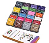 Fstaor Finger Washable Ink Pads for Kids, 24 Pack Craft Ink Pad for Rubber Stamps Paper Wood Fabric (Pack of 24)