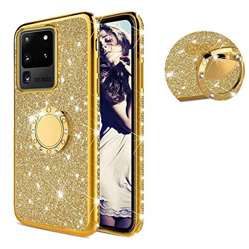 TYWZ Hülle Kompatibel mit Samsung Galaxy S20 Ultra,Kristall Glitzer Diamant Überzug Rahmen Ultra Dünn Silikon Strass Bling Schutzhülle Handyhülle mit 360 Grad Ring Ständer