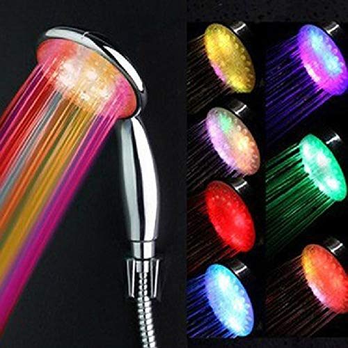 Led Anion Health douchekop met kleurveranderende lichtgevende lamp automatisch gegenereerd door temperatuursensor 25CM douche + 1,5 M slang