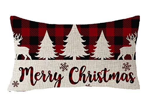 FELENIW Classic Retro Christmas Red Black Green Yellow Christmas Tree Snowflakes Plaid Buffalo Checkered Plaid Lattice Cotton Linen Decorative Throw Pillow Cover Cushion Case 12x20 inches