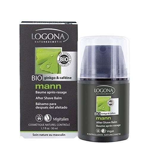 LOGONA Naturkosmetik mann After Shave Balm, Beruhigend & vitalisierend, Bio-Extrakte Koffein & Ginkgo, Für Männer, 50 ml