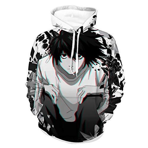 Kfacvy Anime Hoodies Man Death Note,White Sweatshirts for Womens Unisex Japanese Manga ACG Pullover Cotton Casual Funny Sweatshirts L.Lawliet,S