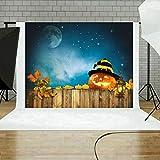 STRIR Telón de Fondo de Fotografía Impresión Digital Halloween Calabaza Cementerio Murciélago Patrón para Foto Estudio 5x3FT/150 * 90 cm (E)