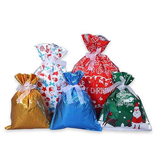 Bolsa de regalo con cordón 30 piezas de varias bolsas de embalaje de regalo de Navidad Versión mejorada Bolsa de regalo de Navidad de cumpleaños
