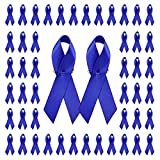 WANDIC, 100 spille blu in raso con nastro di sicurezza per uomini o donne, 7,5 x 4 cm