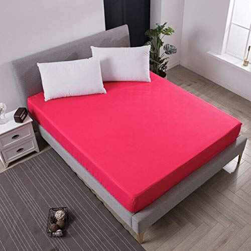 Solid Color Fitted Sheet Mattress Cover Bed Linen With Elastic Band Mattress Protector Pad Polyester King Size Bedding Set 140x200cm Red