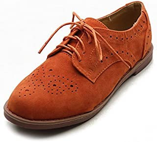 Ollio Womens Lace Up Wing Tip Casual Shoe Dress Low Heel Oxford