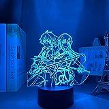 DFDFDF 3D Night Light Illusion Neon Sign LED Decor Lamps USB Anime Lamp Sword Art Online Kirito En Asuna Remote Contorl 16 Colors Home Decor for Children Xma
