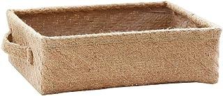 Cratone Panier de Rangement Tissé Panier Tressé Pliable Lin Boîte de Rangement avec Poignée pour Vêtements, Jouets ou Maga...