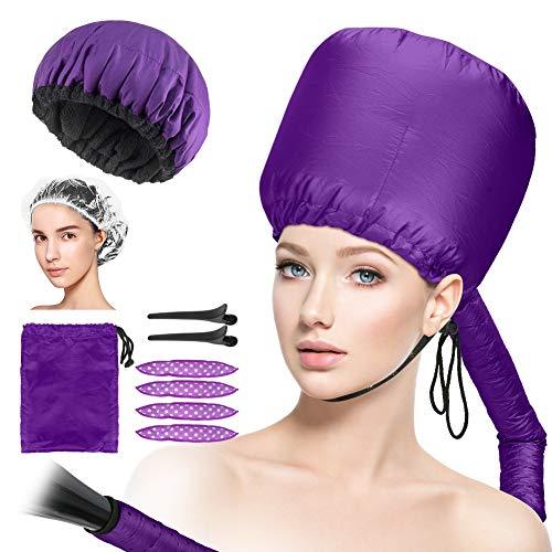 CestMall Secador de pelo con capucha + gorro para acondicionamiento profundo, gorro con capucha ajustable para secar, peinar, rizar, gorro térmico de linaza Acondicionamiento profundo