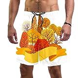 Troncos de natación para hombre cortos de tela de secado rápido con forro de malla de moda de moda con patrón de copo de nieve de Navidad retro, Árbol de otoño amarillo 2, XL