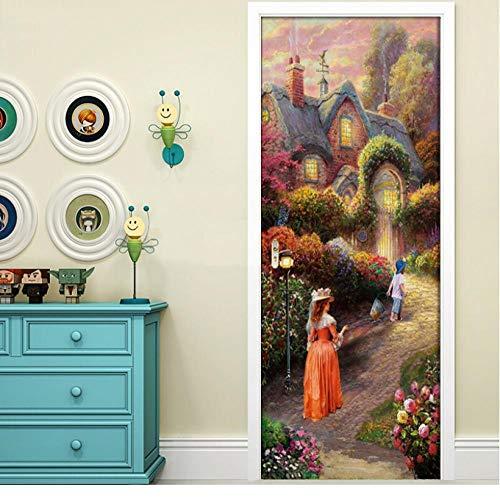 Zelfklevende doe-het-zelf deursticker, decoratie Europese tuin, vrouw, kind, muurschildering waterdichte prints afbeeldingen, nieuwe wooncultuur, slaapkamer, decoratie 77 * 200cm