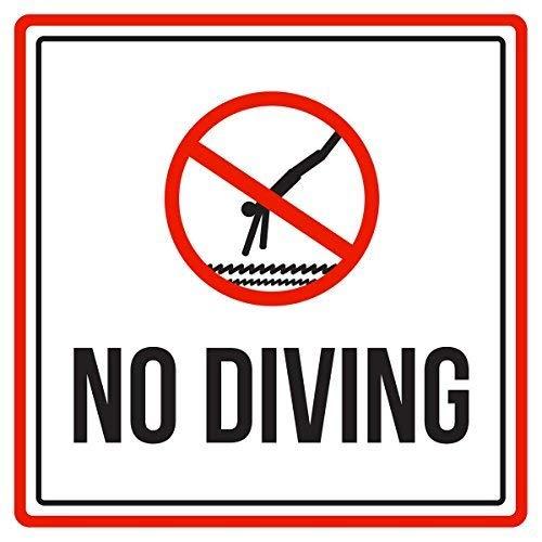 """Wini2342ckey Home Decor Schild """"No Diving Swimming Pool Spa Warnung Quadratisches Metallschild für den Innen- und Außenbereich, einfach zu montieren, 30,5 x 30,5 cm"""