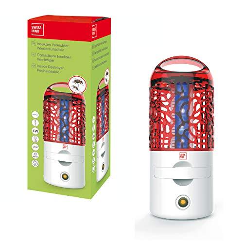 SWISSINNO Insekten Vernichter wiederaufladbar LED 4 Watt Insenktenvernichter, weiß/rot