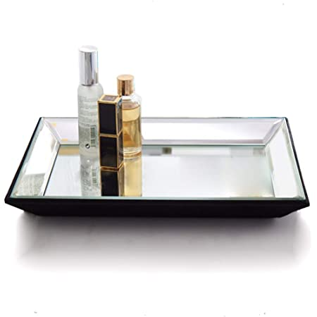 Cq acrylic Decorative Tray,Gold Mirror Tray for Jewelry,Jewelry Tray Storage Organizer Makeup Tray for Vanity Dresser,Pack of 1