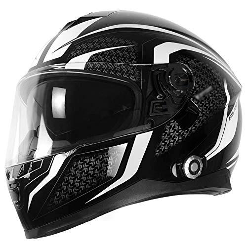 ququer Casco Integral de Doble Visor Casco Bluetooth para Motocicleta Cascos de Motocicleta, Sistemas de comunicación por intercomunicador Integrados Radio FM con Visera Solar para 6 pasajeros-D||XL
