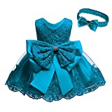 KISSOURBABY Baby Girls Sequined Bowknot Flower Girl Dress Embroidered Wedding Birthday Party Christening Baptism Easter Tutu Gown with Headwear(Teal 12M)